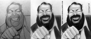 Montaje de la caricatura en blanco y negro de Bud Spencer en 3 fases