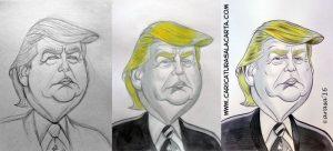 Caricaturas en blanco y negro de políticos famosos: Donald Trump (proceso de creación)