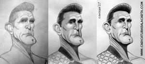 Caricaturas de famosos: Kirk Douglas (proceso)