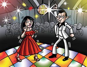 Ilustraciones con caricaturas personalizadas para invitación de bodas. Discoteca