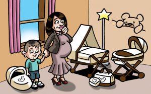 Ilustraciones con caricaturas personalizadas para invitación de bodas. Cunas