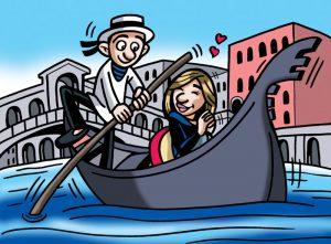 Ilustraciones con caricaturas personalizadas para invitación de bodas. Venecia