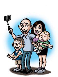 Ilustraciones con caricaturas personalizadas para invitación de bodas. Selfie