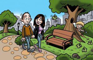 Ilustraciones con caricaturas personalizadas para invitación de bodas. Parque