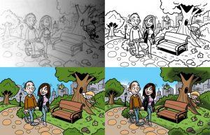 Ilustraciones con caricaturas personalizadas para invitación de bodas. Proceso de creación