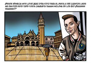 Ilustraciones con caricaturas personalizadas digitales para cómic. Viaje a Venecia