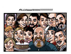 Ilustraciones con caricaturas personalizadas digitales para cómic. Celebración aniversario