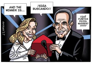 Caricaturas de famosos: humor gráfico Warren Beatty y el Oscar