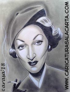 Caricatura con barras y lápiz pastel de Marlene Dietrich