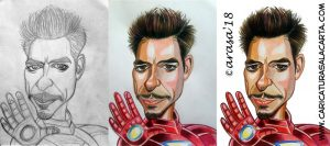 Caricaturas de famosos actores: Robert Downey jr como Iron Man. Proceso de creación