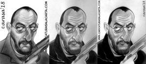 Caricaturas de famosos: Jean Reno, montaje en 3 fases