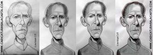 Caricaturas de actores famosos de Star Wars: Peter Cushing en fases