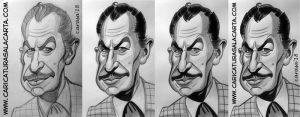 Caricatura de Vincent Price en 4 fases