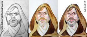 Caricaturas de famosos: caricatura de Luke Skywalker en 3 fases