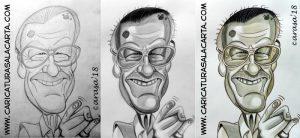 Montaje de la creación de la caricatura de Stan Lee