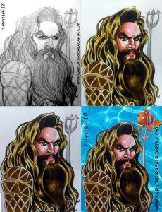 Caricaturas de famosos: Jason Momoa Aquaman (creación)