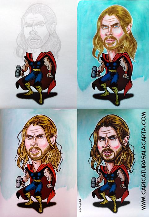 Caricaturas De Famosos Caricatura Cine Chris Hemsworth Thor Marvel