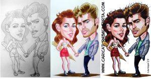 Caricaturas de famosos: Kristen Stewart y Robert Pattinson (proceso de creación)