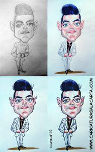 Montaje que ilustra el proceso de creación de la caricatura en una hora de Rami Malek