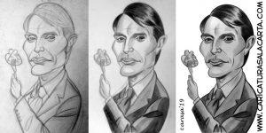 Proceso de creación de la caricatura de Mads Mikkelsen en 3 fases