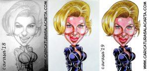 Caricatura rápida de Scarlett Johansson viuda negra en Marvel. Proceso de creación