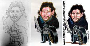 Caricatruras de famosos: Kit Harington es Jon Nieve (Snow) en Juego de Tronos. Proceso de creación de la caricatura