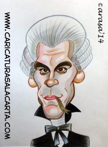 Caricatura rápida del actor John Malkovich pintada con acuarela y lápiz color