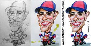 Proceso de creación de la caricatura rápida de Marc Márquez en 3 fases