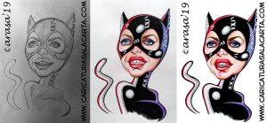 Montaje de imágenes con el proceso de creación de la caricatura de Michelle Pfeiffer caracterizada de Catwoman en 3 fases