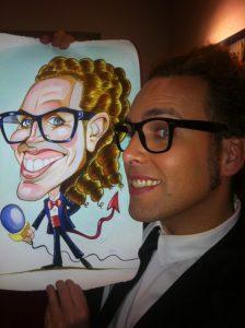 El presentador Torito y su caricatura personalizada