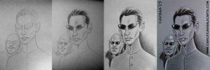 Proceso de creación de la caricatura de Keanu Reeves en blanco y negro