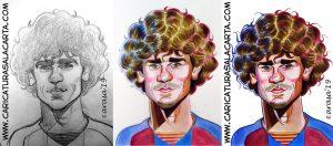 Proceso de creación de la caricatura de Griezmann