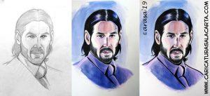 Proceso de creación del retrato de Keanu Reeves en 3 fases