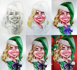 Proceso de creación de la caricatura navideña de Emilia Clarke